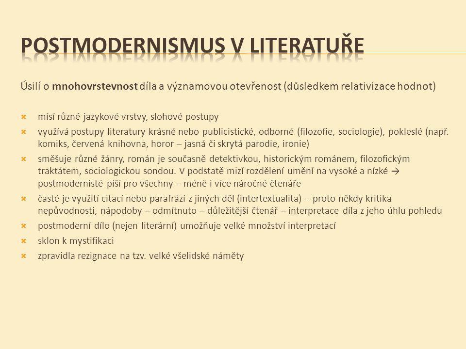 POSTMODERNISMUS V LITERATUŘE