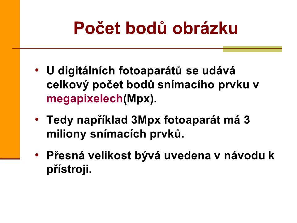Počet bodů obrázku U digitálních fotoaparátů se udává celkový počet bodů snímacího prvku v megapixelech(Mpx).