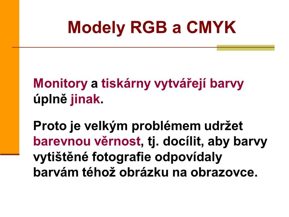 Modely RGB a CMYK Monitory a tiskárny vytvářejí barvy úplně jinak.