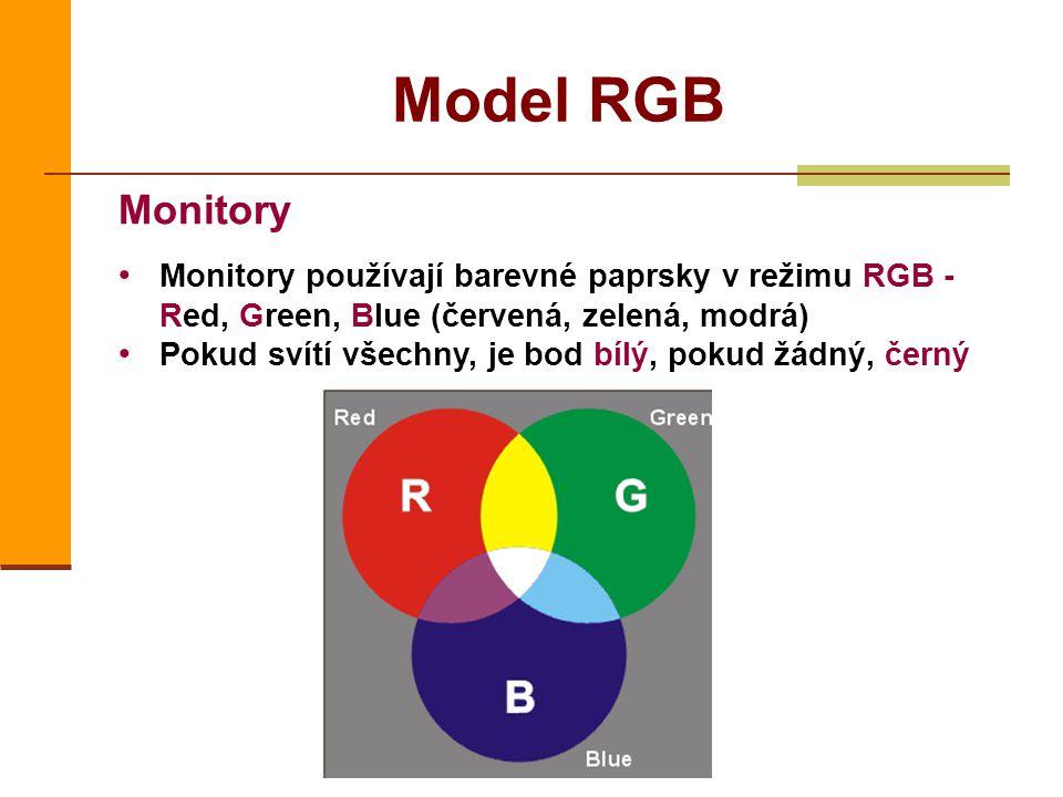 Model RGB Monitory. Monitory používají barevné paprsky v režimu RGB - Red, Green, Blue (červená, zelená, modrá)