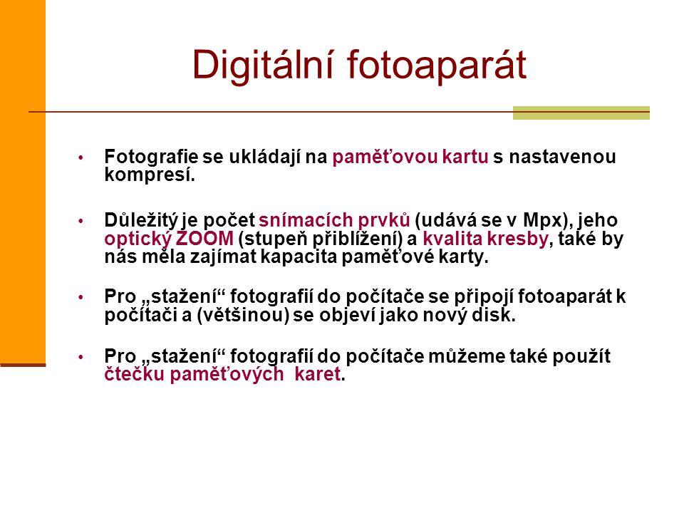Digitální fotoaparát Fotografie se ukládají na paměťovou kartu s nastavenou kompresí.