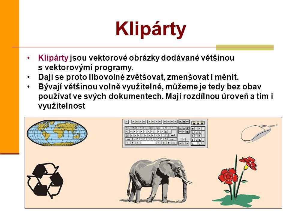 Klipárty Klipárty jsou vektorové obrázky dodávané většinou s vektorovými programy. Dají se proto libovolně zvětšovat, zmenšovat i měnit.