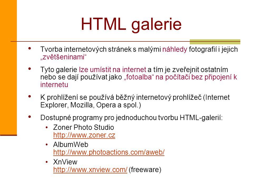 """HTML galerie Tvorba internetových stránek s malými náhledy fotografií i jejich """"zvětšeninami"""