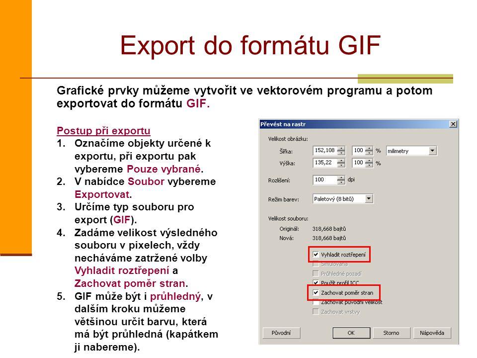 Export do formátu GIF Grafické prvky můžeme vytvořit ve vektorovém programu a potom exportovat do formátu GIF.