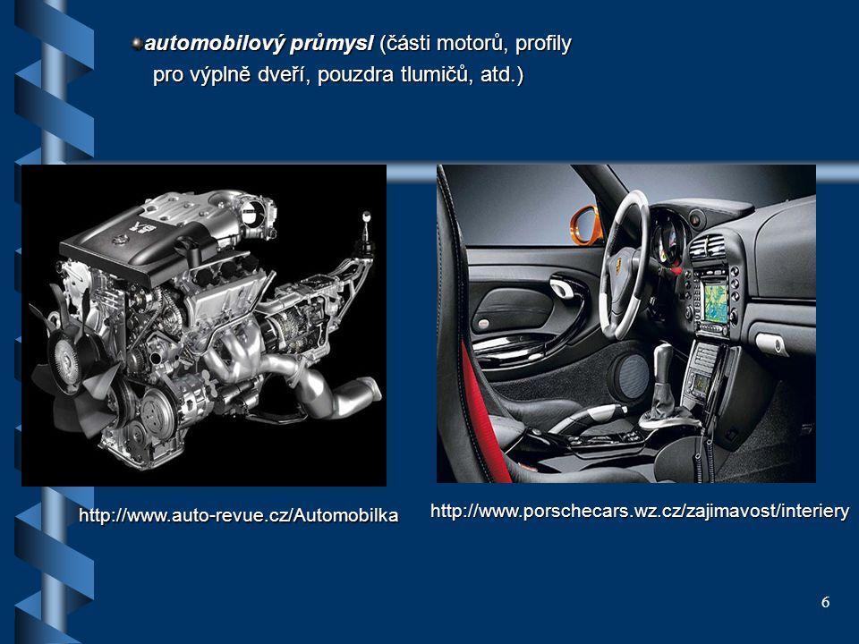 automobilový průmysl (části motorů, profily