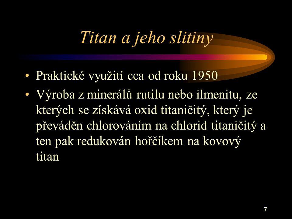 Titan a jeho slitiny Praktické využití cca od roku 1950
