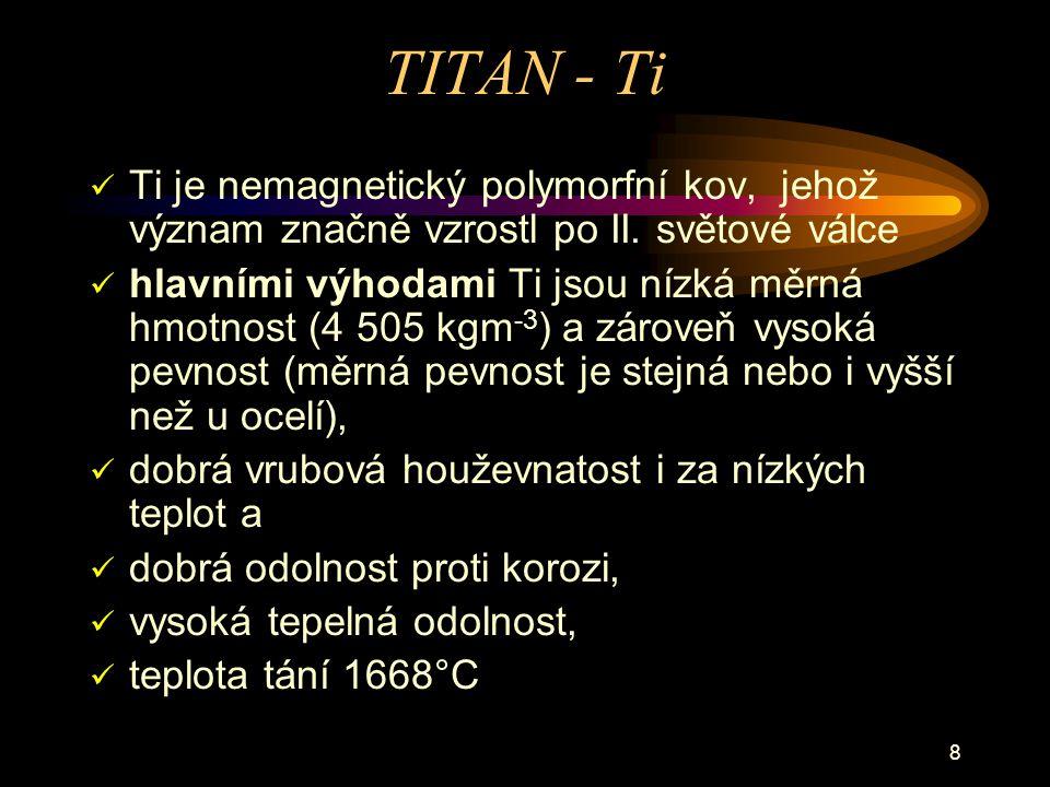 TITAN - Ti Ti je nemagnetický polymorfní kov, jehož význam značně vzrostl po II. světové válce.