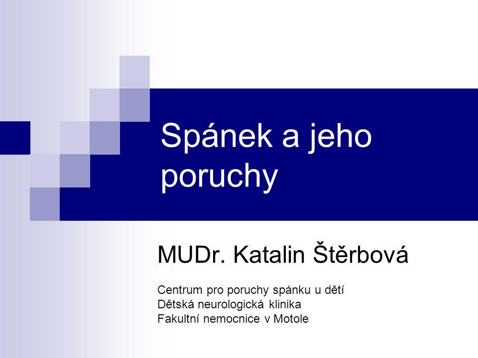 Spánek a jeho poruchy MUDr. Katalin Štěrbová