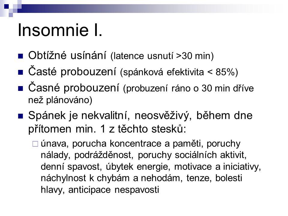 Insomnie I. Obtížné usínání (latence usnutí >30 min)