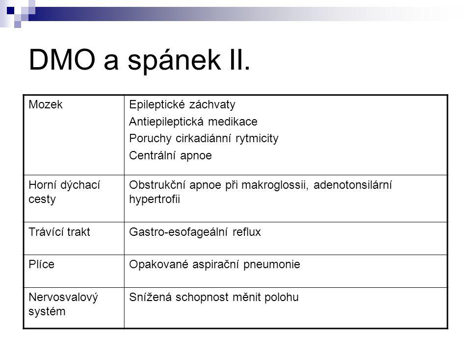 DMO a spánek II. Mozek Epileptické záchvaty Antiepileptická medikace