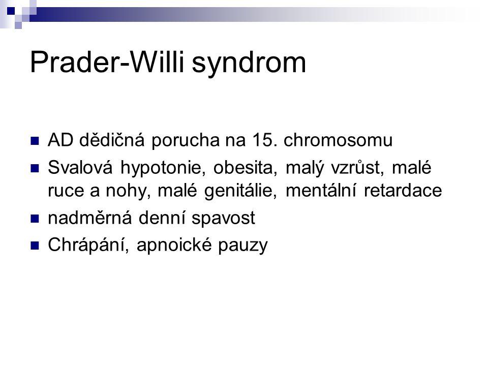 Prader-Willi syndrom AD dědičná porucha na 15. chromosomu