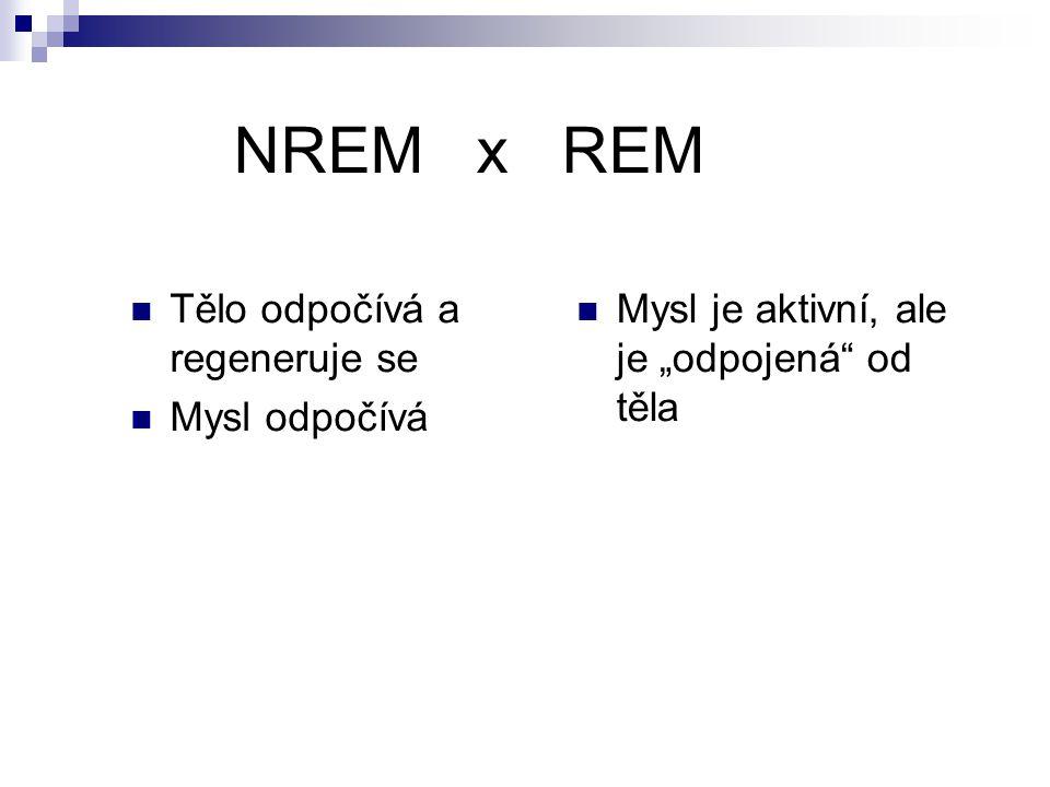 NREM x REM Tělo odpočívá a regeneruje se Mysl odpočívá
