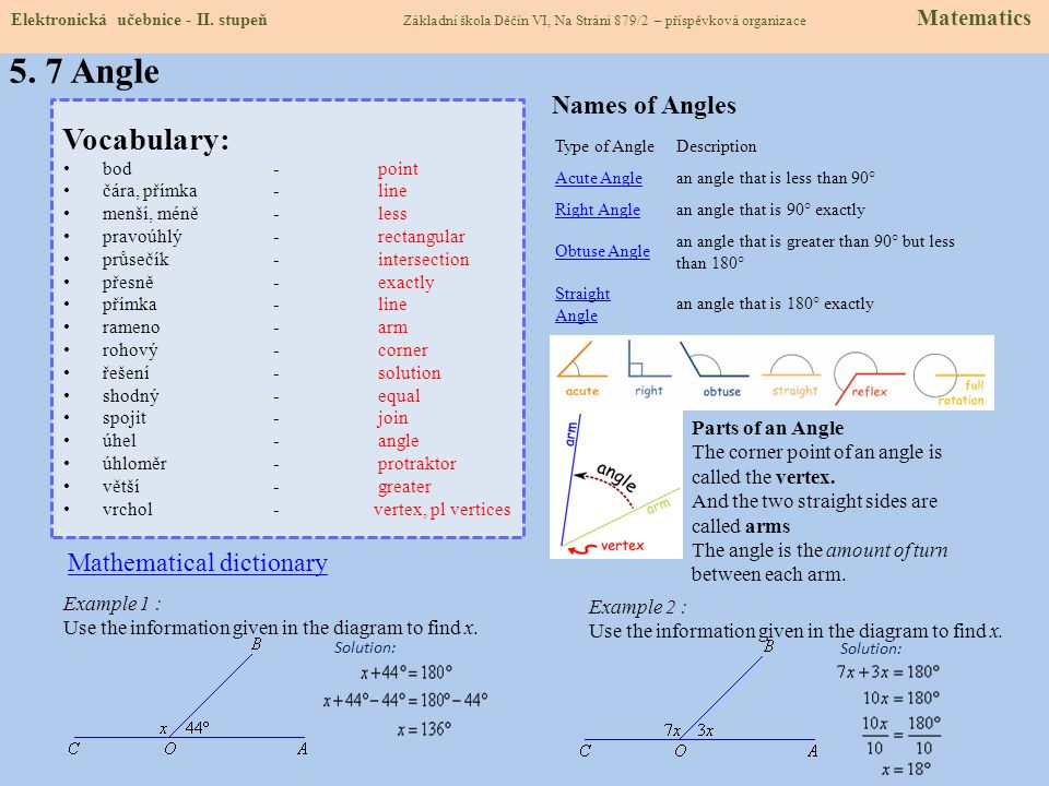 5. 7 Angle Vocabulary: Names of Angles Mathematical dictionary