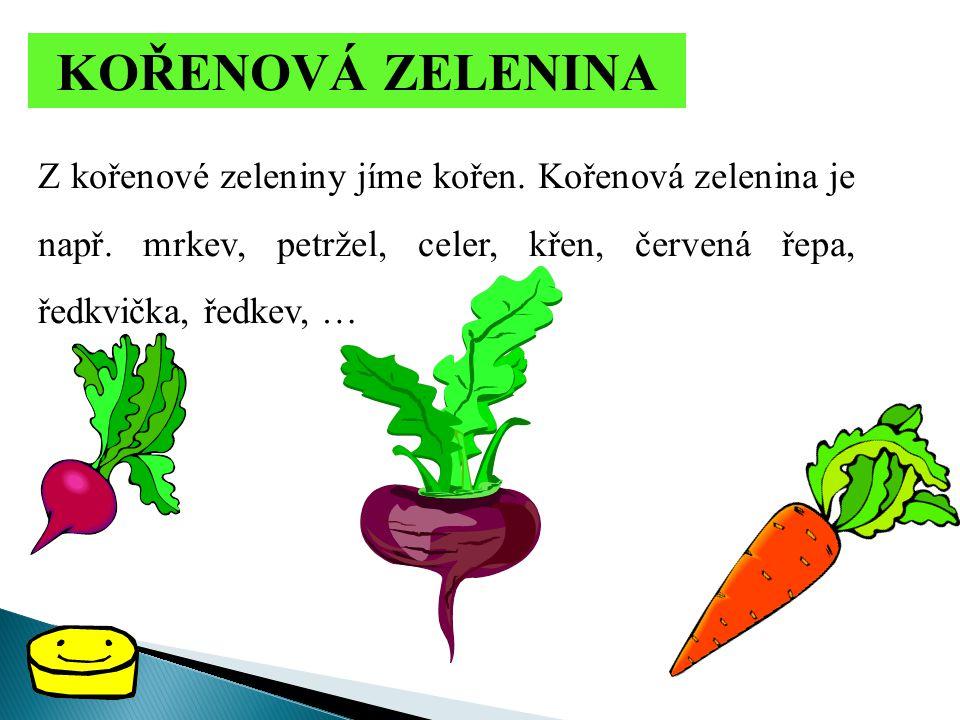 KOŘENOVÁ ZELENINA Z kořenové zeleniny jíme kořen. Kořenová zelenina je např.
