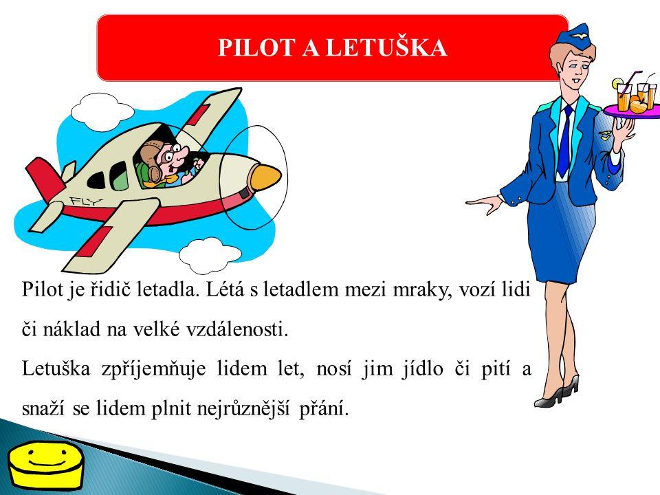 PILOT A LETUŠKA Pilot je řidič letadla. Létá s letadlem mezi mraky, vozí lidi či náklad na velké vzdálenosti.