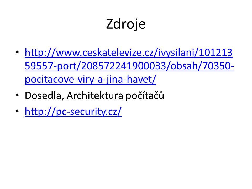 Zdroje http://www.ceskatelevize.cz/ivysilani/10121359557-port/208572241900033/obsah/70350-pocitacove-viry-a-jina-havet/