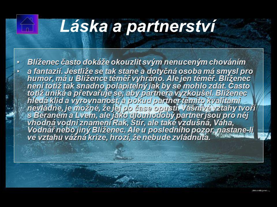 Láska a partnerství Blíženec často dokáže okouzlit svým nenuceným chováním.