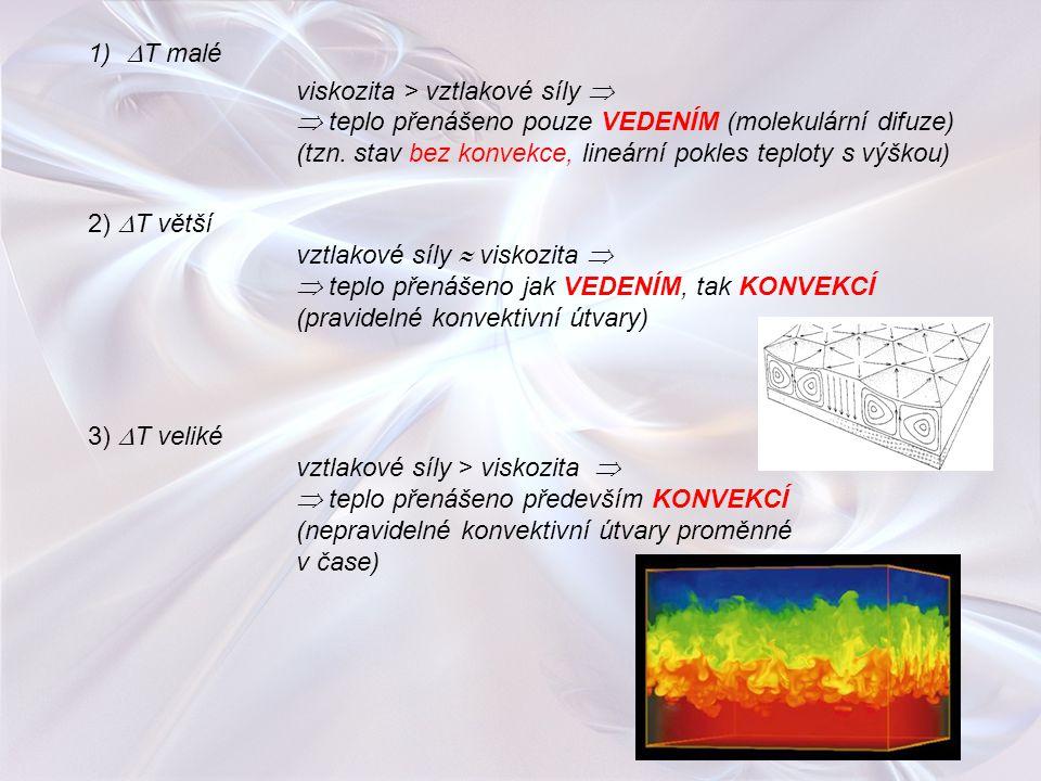 T malé viskozita > vztlakové síly   teplo přenášeno pouze VEDENÍM (molekulární difuze)