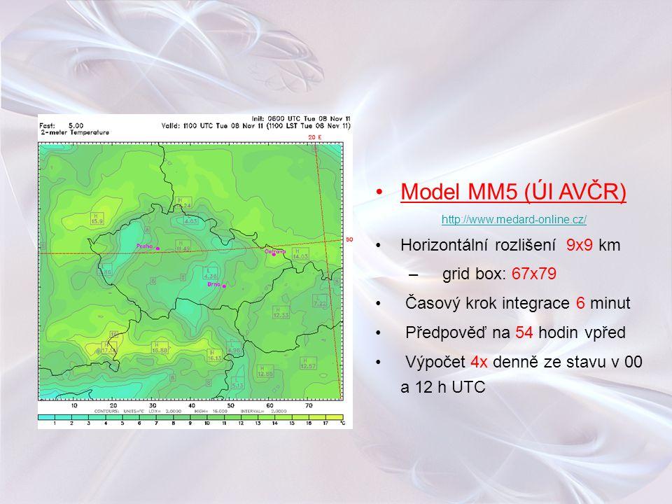 Model MM5 (ÚI AVČR) Horizontální rozlišení 9x9 km grid box: 67x79