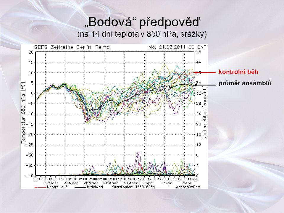 """""""Bodová předpověď (na 14 dní teplota v 850 hPa, srážky)"""
