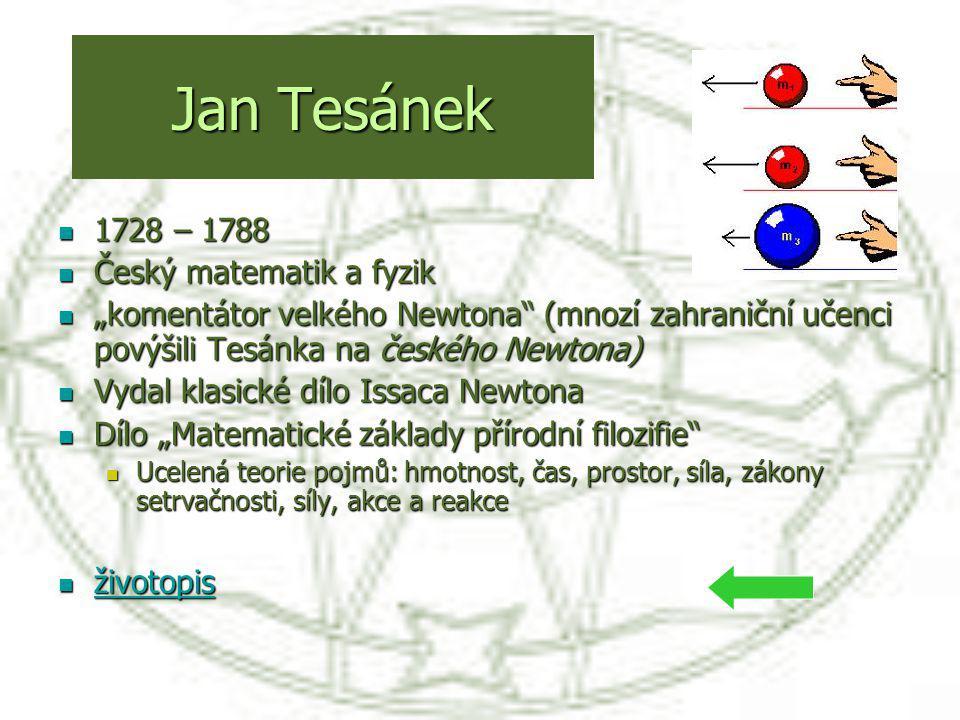 Jan Tesánek 1728 – 1788 Český matematik a fyzik