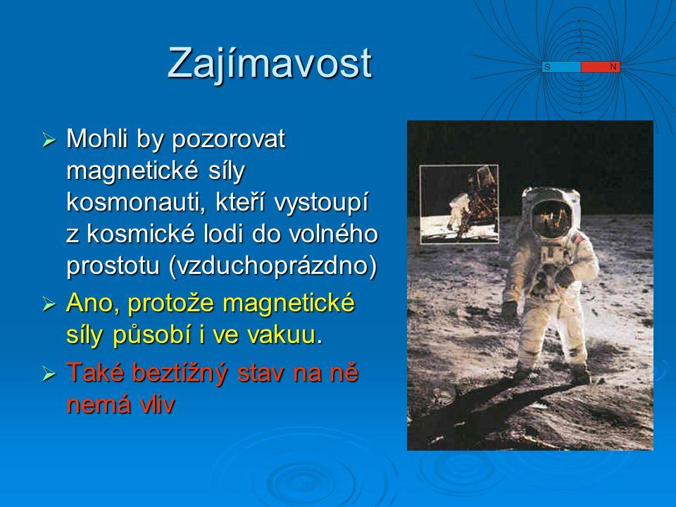 Zajímavost Mohli by pozorovat magnetické síly kosmonauti, kteří vystoupí z kosmické lodi do volného prostotu (vzduchoprázdno)