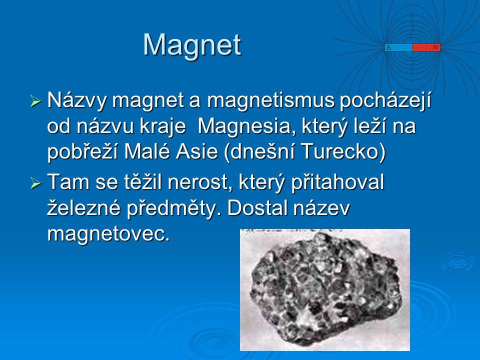 Magnet Názvy magnet a magnetismus pocházejí od názvu kraje Magnesia, který leží na pobřeží Malé Asie (dnešní Turecko)