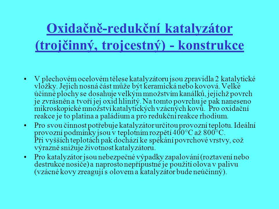 Oxidačně-redukční katalyzátor (trojčinný, trojcestný) - konstrukce
