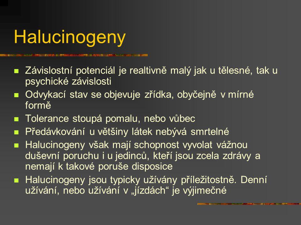 Halucinogeny Závislostní potenciál je realtivně malý jak u tělesné, tak u psychické závislosti.