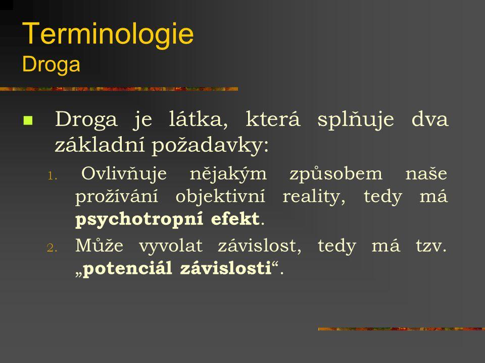 Terminologie Droga Droga je látka, která splňuje dva základní požadavky:
