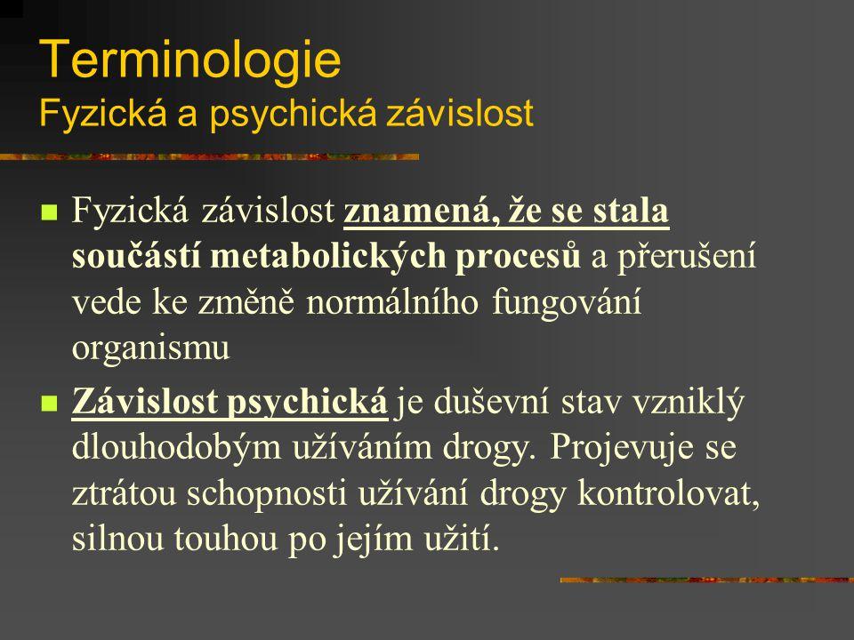 Terminologie Fyzická a psychická závislost