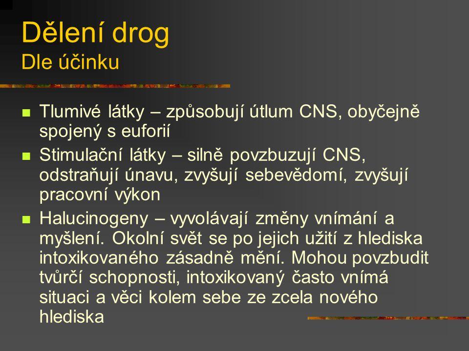 Dělení drog Dle účinku Tlumivé látky – způsobují útlum CNS, obyčejně spojený s euforií.