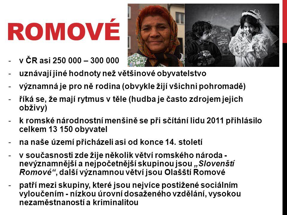 romové v ČR asi 250 000 – 300 000. uznávají jiné hodnoty než většinové obyvatelstvo. významná je pro ně rodina (obvykle žijí všichni pohromadě)