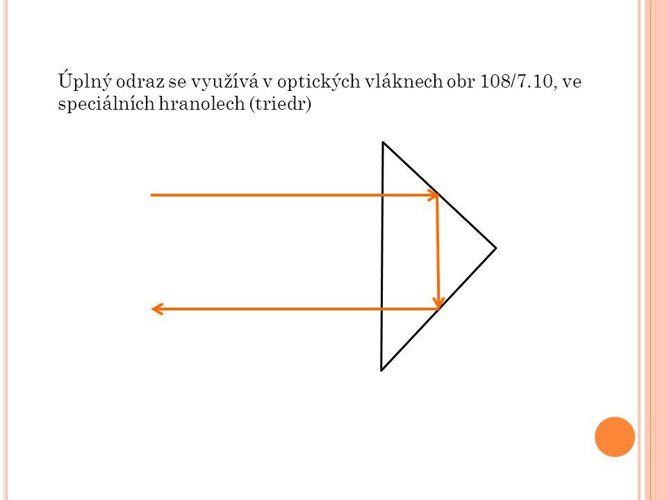 Úplný odraz se využívá v optických vláknech obr 108/7