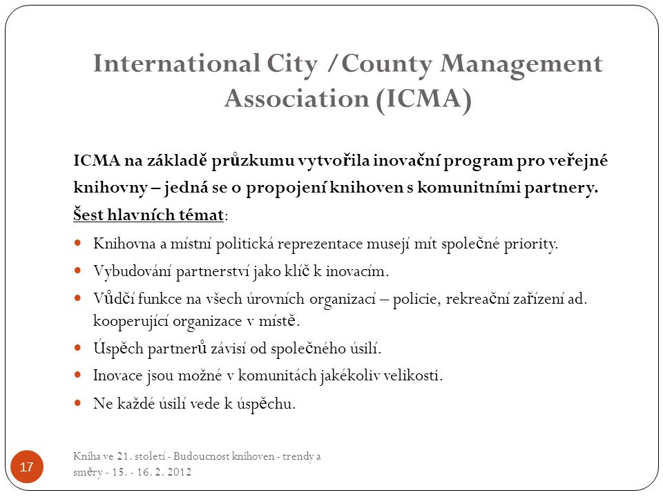 International City /County Management Association (ICMA)