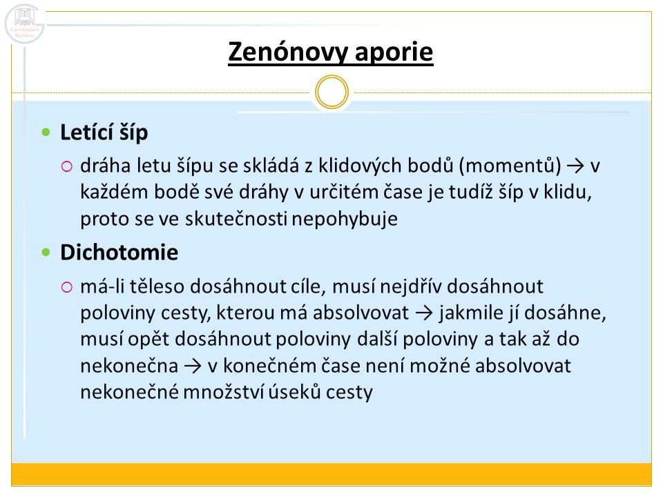 Zenónovy aporie Letící šíp Dichotomie