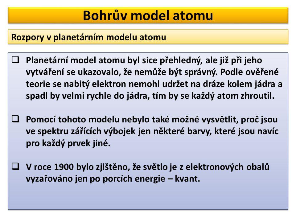 Bohrův model atomu Rozpory v planetárním modelu atomu