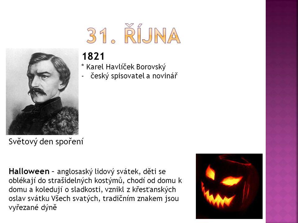 31. října 1821 Světový den spoření