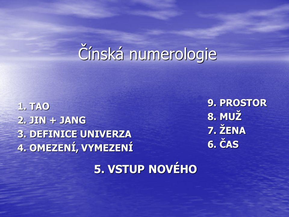 Čínská numerologie 5. VSTUP NOVÉHO 9. PROSTOR 8. MUŽ 7. ŽENA 6. ČAS