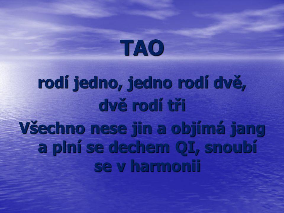 TAO rodí jedno, jedno rodí dvě, dvě rodí tři Všechno nese jin a objímá jang a plní se dechem QI, snoubí se v harmonii