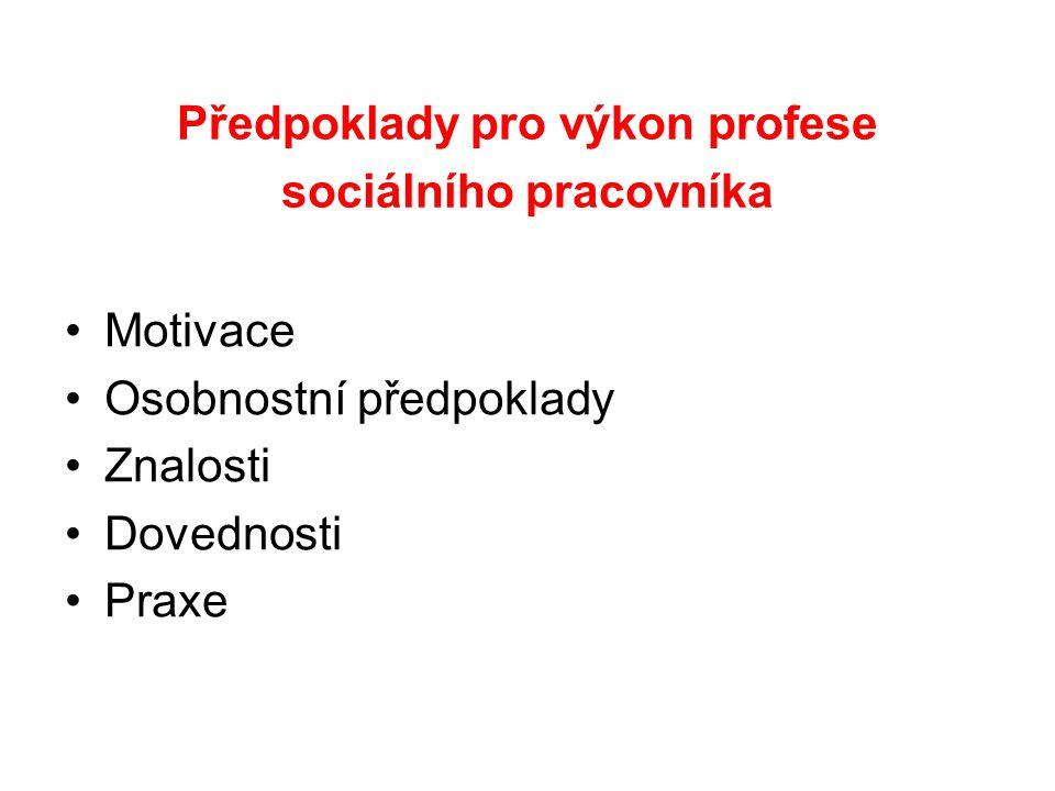 Předpoklady pro výkon profese sociálního pracovníka