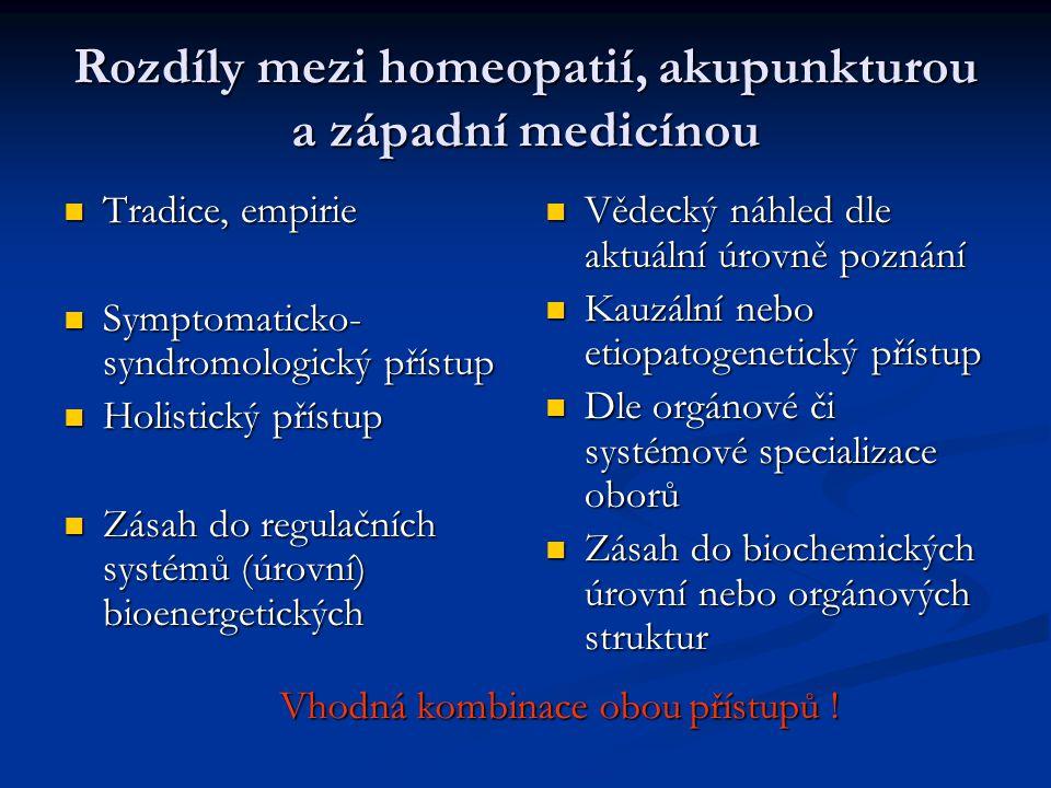 Rozdíly mezi homeopatií, akupunkturou a západní medicínou