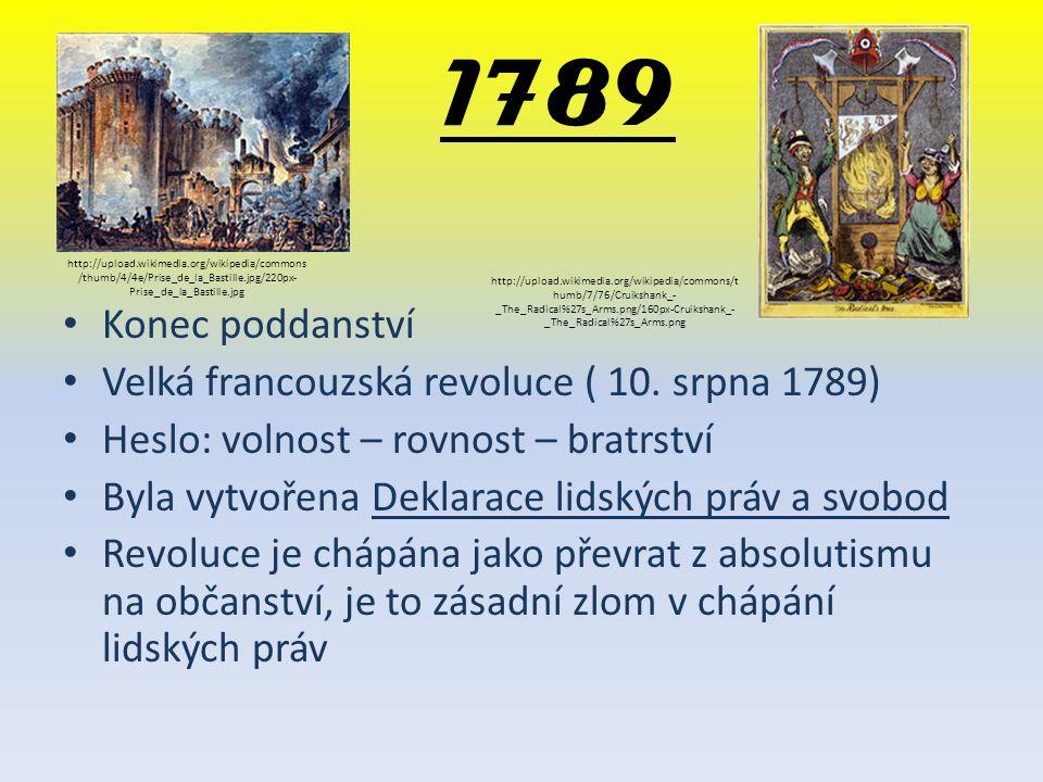 1789 Konec poddanství Velká francouzská revoluce ( 10. srpna 1789)