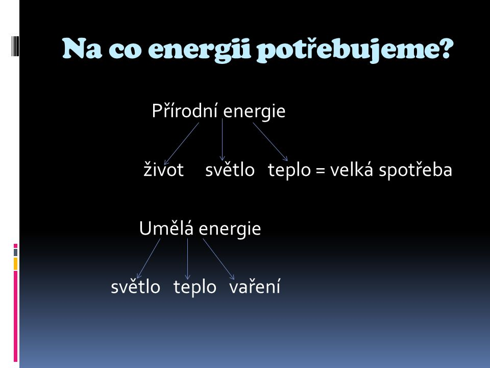 Na co energii potřebujeme
