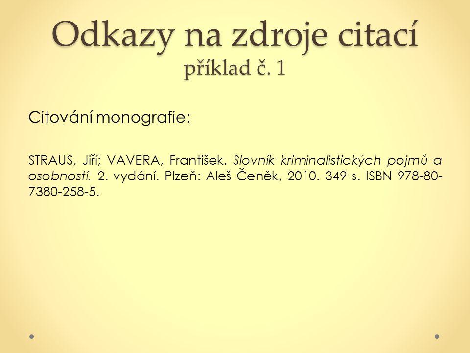Odkazy na zdroje citací příklad č. 1