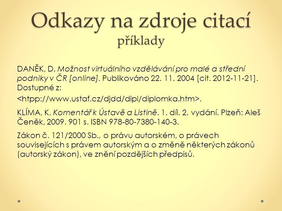 Odkazy na zdroje citací příklady
