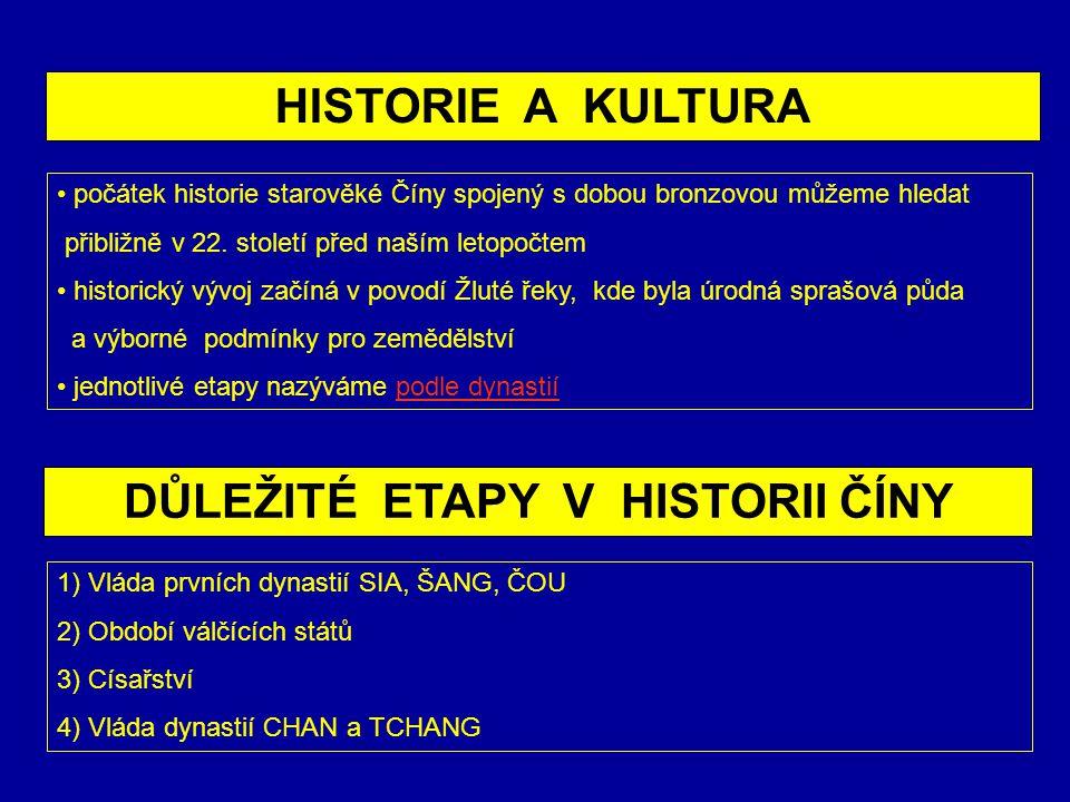 DŮLEŽITÉ ETAPY V HISTORII ČÍNY