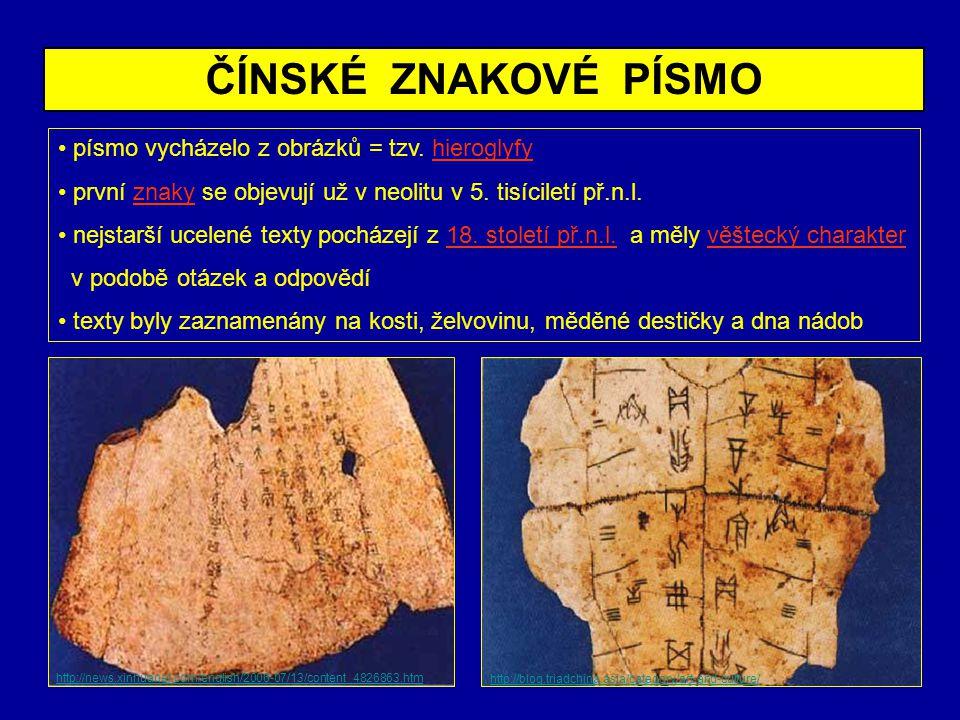 ČÍNSKÉ ZNAKOVÉ PÍSMO písmo vycházelo z obrázků = tzv. hieroglyfy
