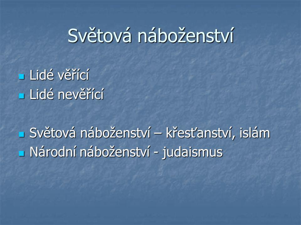 Světová náboženství Lidé věřící Lidé nevěřící