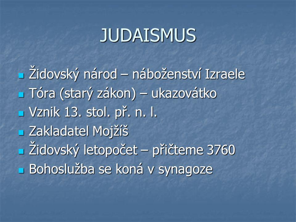 JUDAISMUS Židovský národ – náboženství Izraele